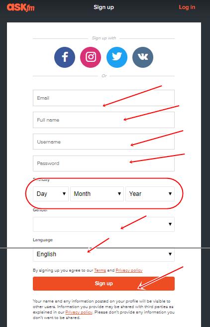 Ask.fm Registration